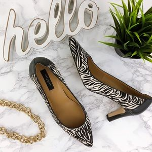 ANN TAYLOR Zebra Print Calf Hair & Leather pump 8